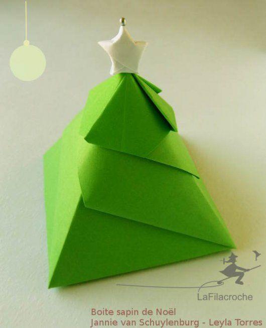 boite origami sapin de nol dco noel pinterest origami kirigami and origami christmas - Decoration De Noel En Origami