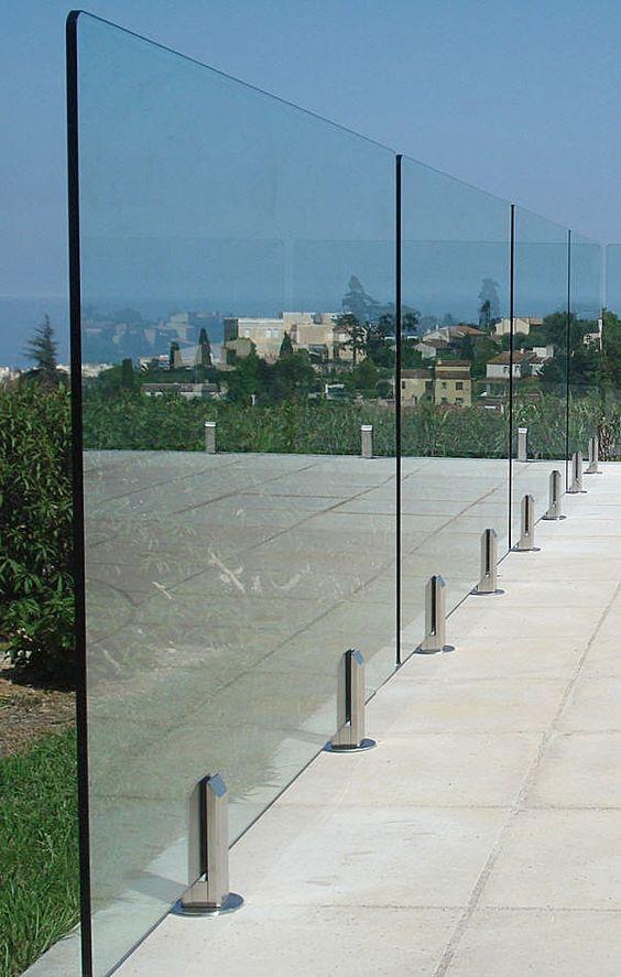 Cortavientos barandilla pies inox barandillas for Barandillas de cristal para terrazas