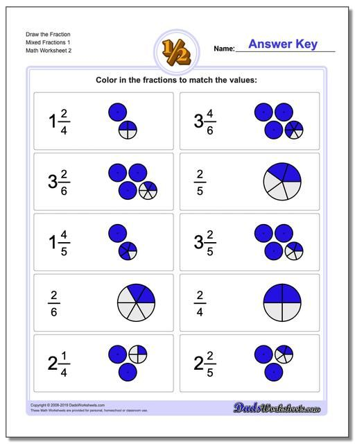 Https Www Dadsworksheets Com Draw The Fraction Worksheet Mixed
