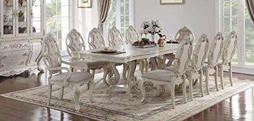Soflex Classic Riviera Antique White Rectangular Dining Table Set 9pcs Traditional Dining Table French Country Dining Room Set Dining Table Setting
