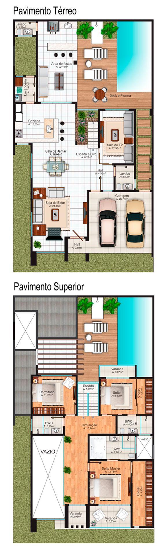 planos de casas con 3 dormitorios y dos banos, de una planta (80 ...