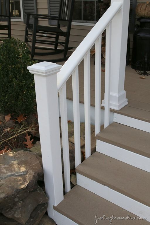 Front porch makeover on a budget front porches front for Cheap stair makeover
