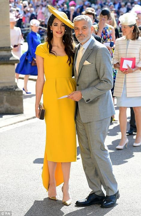 George Clooney and his lawyer wife Amal arrive at St George's Chapel for the royal wedding...#AmalClooney #RoyalWedding