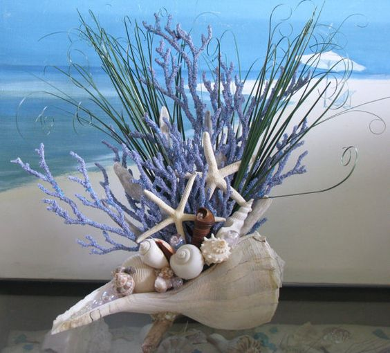 Seashell Coral Centerpiece-Beach Grass-Starfish-Driftwood Coastal Table Decor: