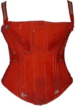 Red wool corset, 1860s. Red wool became fashionable at the end of the 1850's and was used for petticoats, cage crinolines, & corsets.     I assume this was for a large-busted woman, thus no front opening and the additional straps.
