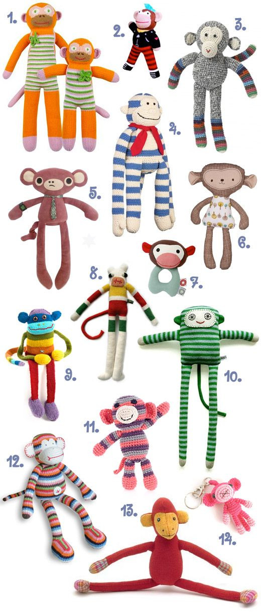 Handmade Monkeys, Toys, Softies, Rattles, Crochet, Plushies
