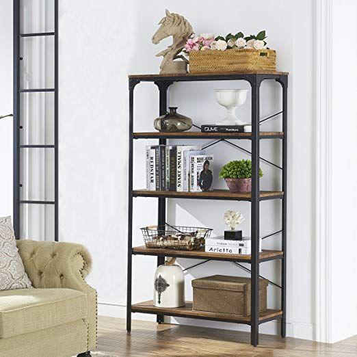 O K Furniture 5 Shelf Industrial Bookcase Book Shelves Metal Bookshelf Rack Display Storage 61 4 H X 33 W X 13 D Barn Wood Metal Bookshelf Bookcase Shelves