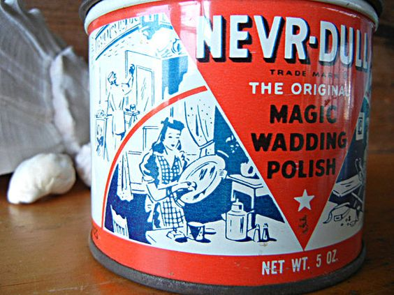 Vintage NEVR-DULL Metal Polish The Original Magic Wadding Polish 5 oz empty Advertising tin red white and blue collectible tin by Sweetpearlvintage