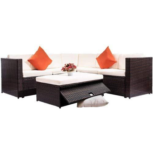 Welpatio 7 PCs Outdoor PE Rattan Wicker Furniture Sectional Conversation Sofa Set with Tea Table Cushions /& Pillows