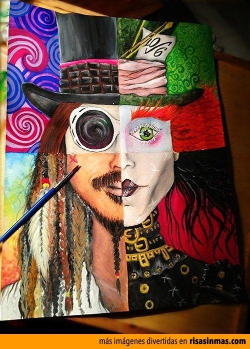 Personajes de Johnny Depp en un cuadro.