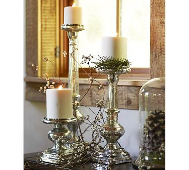 Mercury mercury glass and candle sticks on pinterest for Christmas pillar candle holders