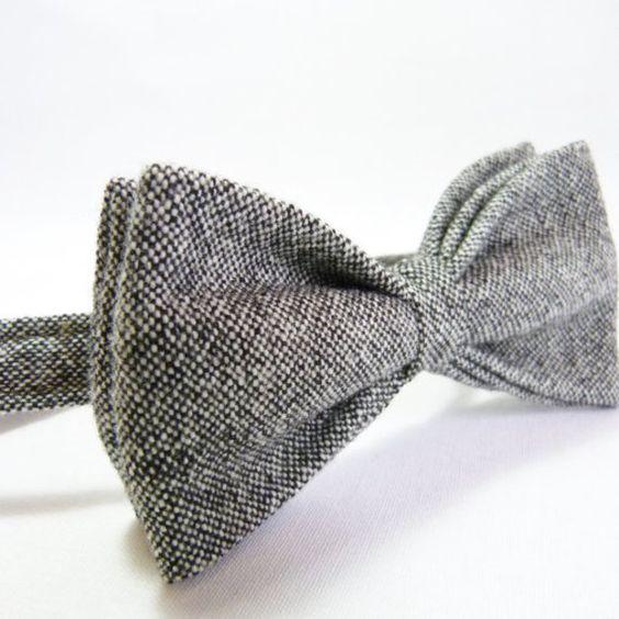 Fliegen - Mens Fliege - Schwarz/Grauer Tweed - ein Designerstück von moaningminnie bei DaWanda