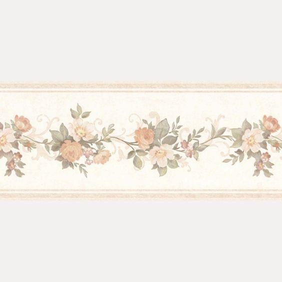 Vintage Rose englische Landhaus Satin Bordüren Blumen Art.-Nr.: B07564