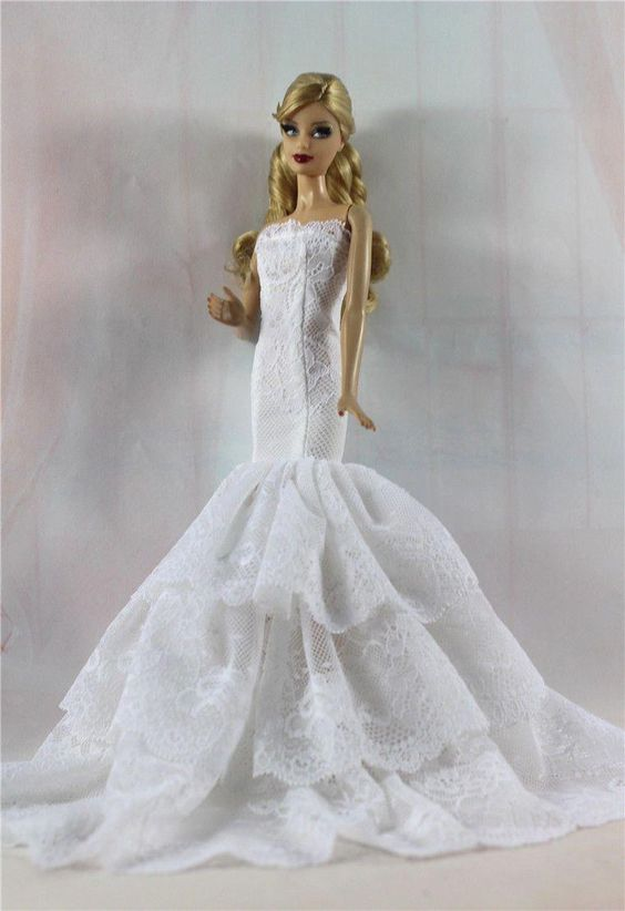 White Royalty Mermaid Dress Party Dress/Clothes/Gown For Barbie Doll S515 | eBay #BarbieHouse