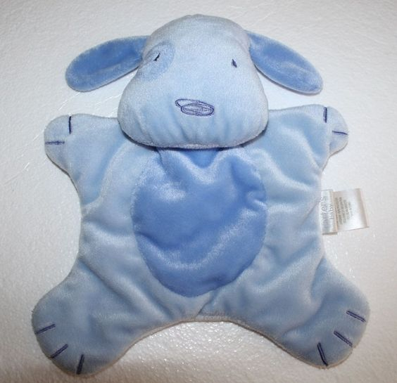 Carters Baby Blue Flat Dog Security Blanket 11 Soft Toy Stuffed Eye Tummy Patch Baby Soft Toys Baby Security Blanket Dog Security
