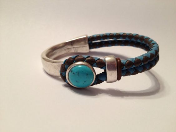 Braided Half Cuff Bracelet turquoise and brown by TBeadsGlass