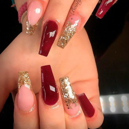 50 Newest Burgundy Nails Designs You Should Definitely Try In 2020 Burgundy Nail Designs Red And Gold Nails Gold Acrylic Nails