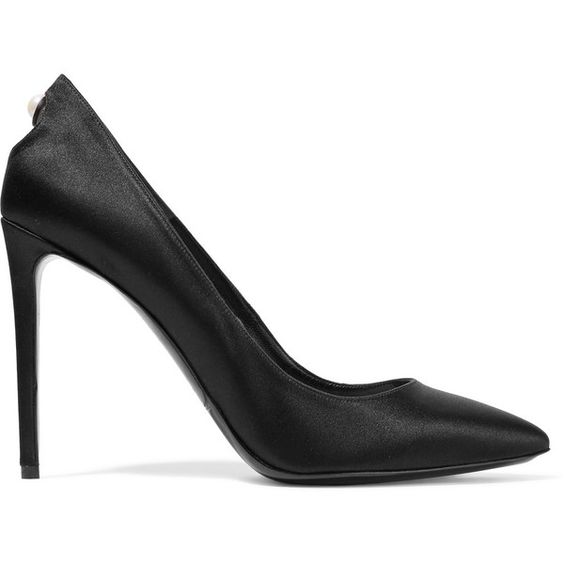 Nicholas Kirkwood - Angie Embellished Cutout Satin Pumps (25,545 INR) ❤ liked on Polyvore featuring shoes, pumps, black, black pointed toe pumps, black high heel shoes, pointed toe pumps, pointed toe high heel pumps and black pumps