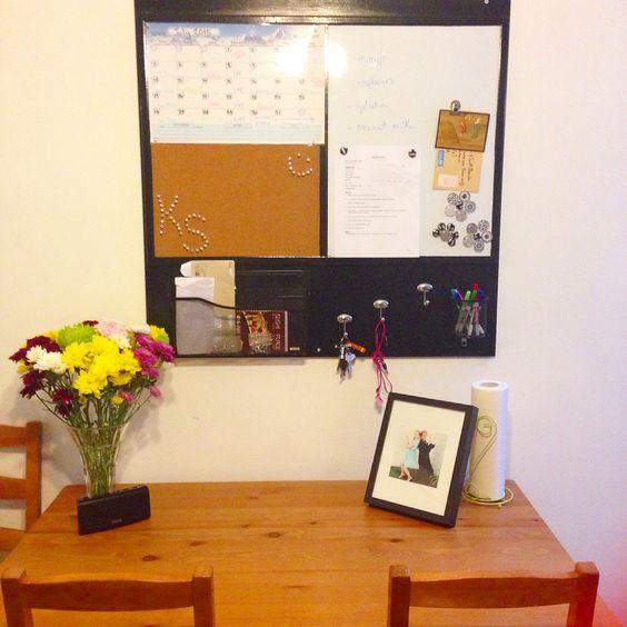 Dry Erase Calendar And Cork Board : Kitchen organizational board calendar cork