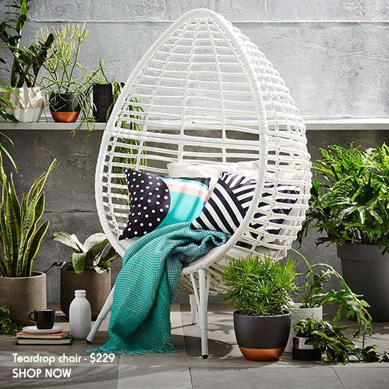Teardrop Wicker Chair Outdoor Styling Kmart Outdoor Furniture