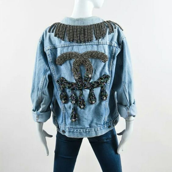 *SOLD* I ♡ DIY BY PANIDA DENIM CHANEL DRIP JACKET I heart DIY BY PANIDA Levis blue denim upcycled beaded fringe jacket Chanel CC drip logo. The brand is I ♡ DIY by Panida, she is a designer from Thailand. CHANEL Jackets & Coats Jean Jackets