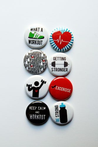 Work Out Flair by aflairforbuttons on Etsy, $6.00  #flair #flairbuttons #aflairforbuttons