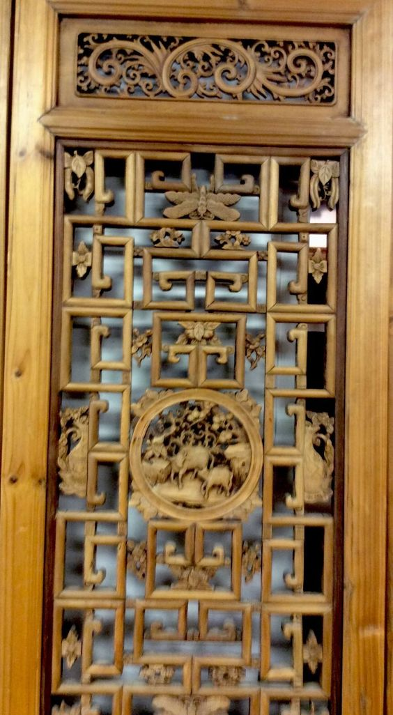 Stunning Four Panel Antique Chinese Carved Wood Screen | eBay