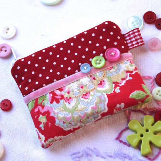 Coin purse  'Red Paisley'  Cath Kidson fabric  by BeadedGardenUK, £5.95