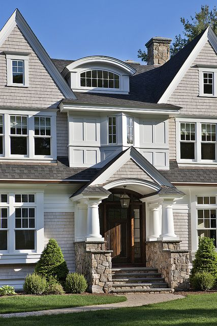 Beautiful Exterior Home Design Trends: Beautiful Mix Of Stone And Shingles By Boston Design Guide