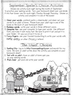 Free Spelling homework with choices for the whole year.