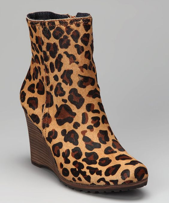Take a look at this Leopard Haircalf Odelle Wedge Boot on zulily today!
