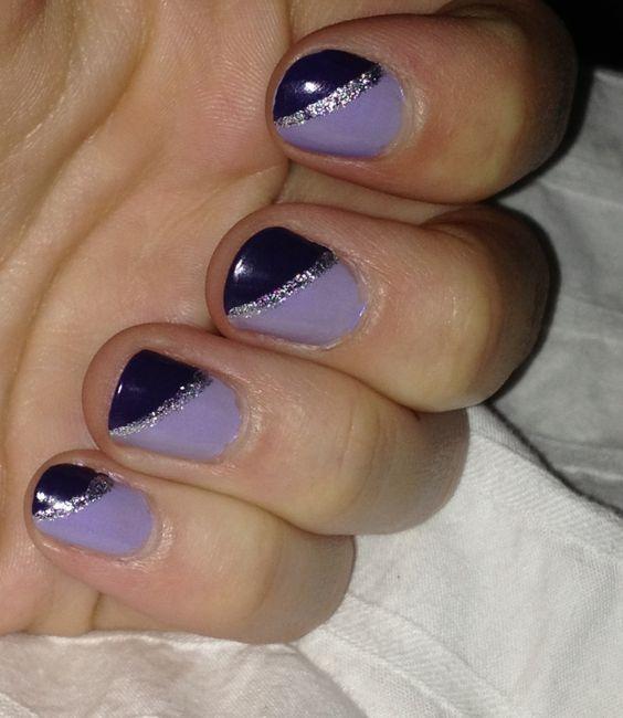 Purple & silver nails