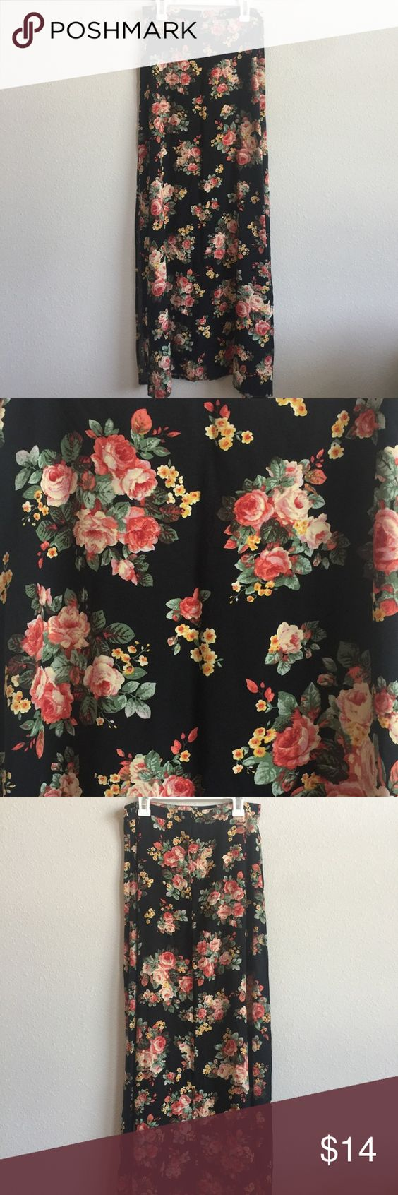 """Forever 21 Full Length Skirt XS Forever 21 black with floral pattern skirt with 2 side slits. Skirt has a side zipper closure. Entire skirt measures about 39"""" from top to bottom, each slit is about 27"""". Size XS. Forever 21 Skirts Maxi"""