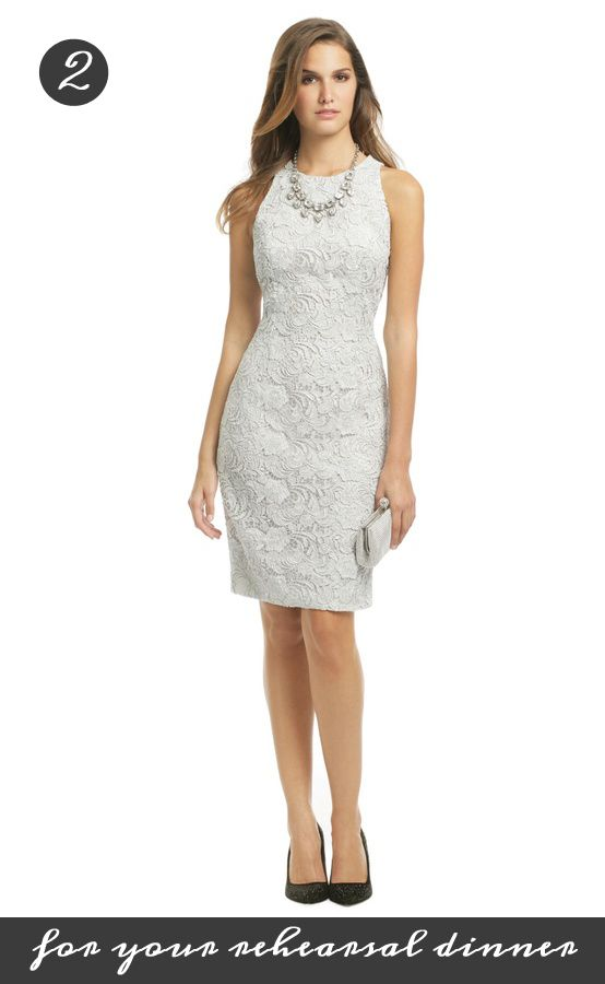 Be demure and delicate for your Rehearsal Dinner with this Carmen Mac Valvo dress. It's just 85 dollars from Rent the Runway: http://www.renttherunway.com/shop/designers/carmenmarcvalvo_dresses/loveairsheath