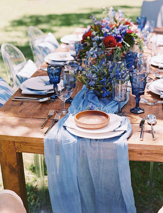 Indigo blue tables cape...... wedding style shoot..... Ka Hale Olinda in Maui Hawaii....... rustic farm tables (Signature Maui), ghost chairs (The Collection Maui), flowers (Mandy Grace Designs), calligraphy bowls (Miss B Calligraphy), hand died blue runner (Adorn Company), tableware (Set Maui)..... Styled Shoot by Couture Events Maui and Mandy Grace Designs..... Photography by Wendy Laurel