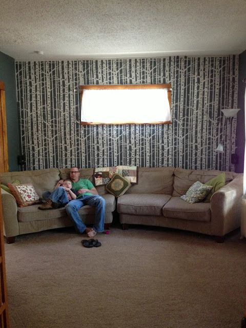 his eye is on the sparrow: A little update on house project happenings. Birch Tree wall
