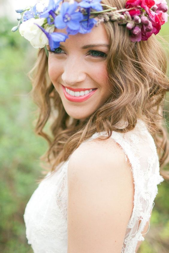bright and cheerful bridal makeup