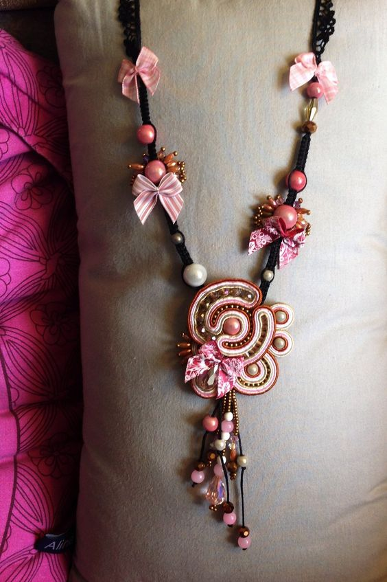 Soutache embroidered necklace yummy colors by Amytea