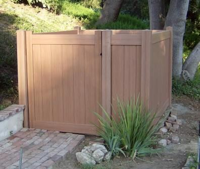 Vinyl Certagrain Pool Pump Enclosure The Redwood Color Helps To Blend In To The Yard Www Jameshardware Com Gates Fencing And Patio Covers