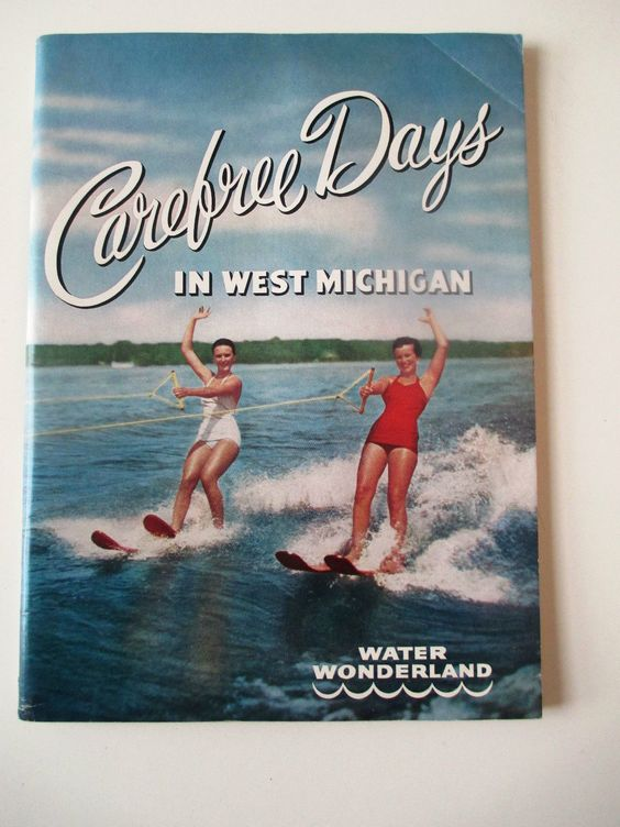 Carefree Days in West Michigan Water Wonderland 1957 Vintage – Michigan Travel Map
