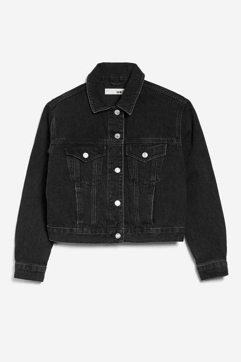 Washed Black Fitted Denim Jacket - Topshop