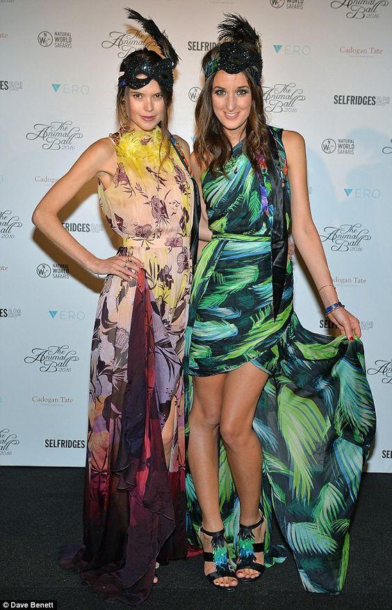 Bright: Sarah Ann Macklin (L) and Rosanna Falconer attended in vibrant colours