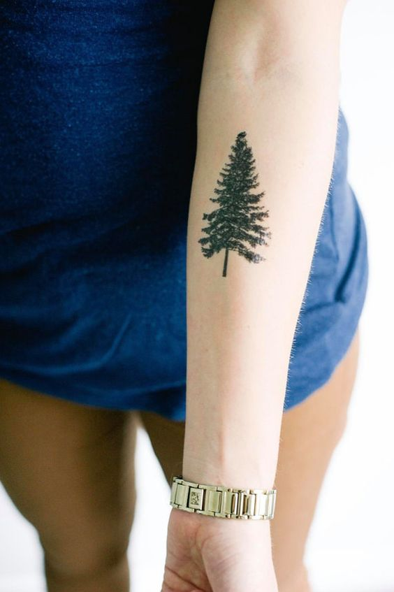 A pine tree temporary tattoo for nature lovers.: