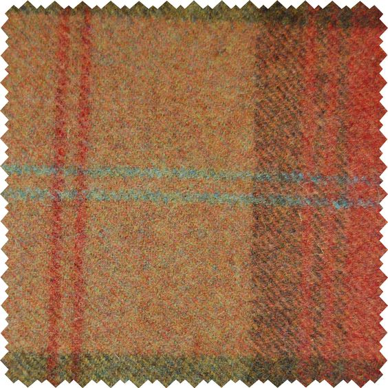 Sanderson Woodford Plaid is the largest design woven on a multi-coloured warp with a different striped pattern in the weft. This style is known as a Madras Check and creates a less formal look than traditional tartans.  Shown here in: Brick Red.