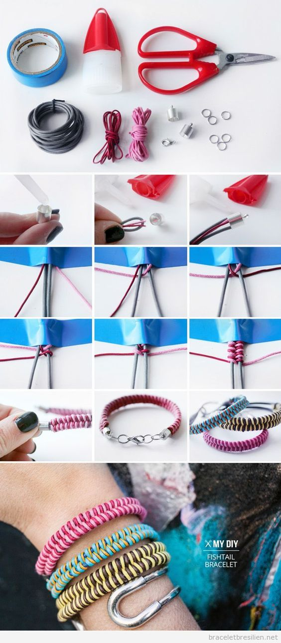 Tuto pas à pas, bracelet DIy fil queue de rat, modèle queue de poisson