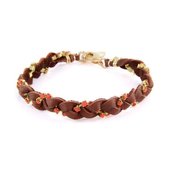 Chestnut Leather Braided Bracelet with Coral Stones