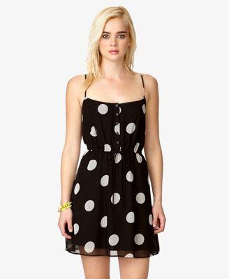 Polka Dot Drawstring Dress   FOREVER 21 - 2037391542