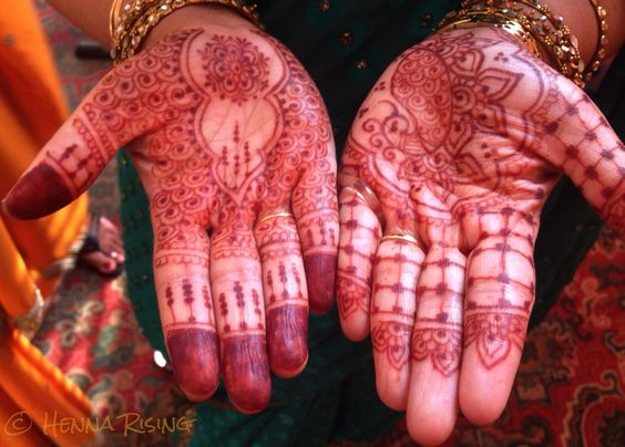 Moderate bridal hands, day 1stain of all natural henna