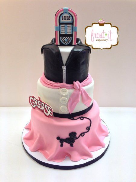 3 tier fondant Grease Theme Cake Poodle Skirt 50s theme cake birthday cake Frost It Cupcakery