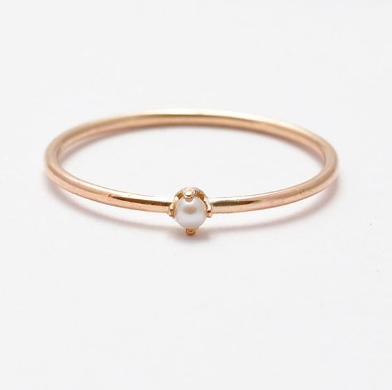 Gemstone Pearl Ring White Pearl Rose Gold Girls Ring Round Rin Rings Modern Style Summer Fashion June Birthstone